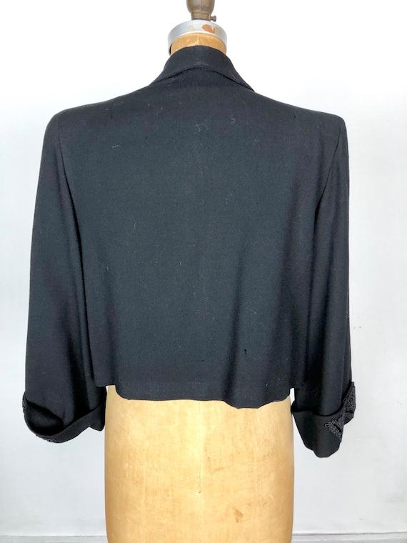 1940's Wool Bolero Jacket W/ Applique M - image 7