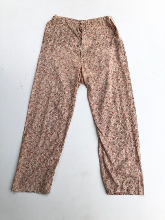 1930's Novelty Print Cotton Lounge Pajama Pants M