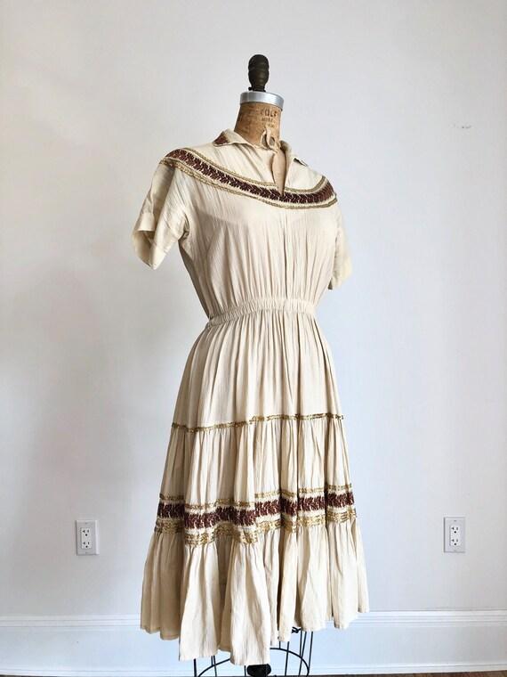 SWEET 1950s Cotton Patio Dress S M