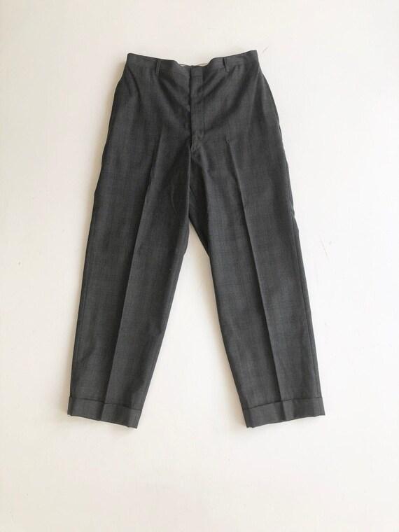 "1950's Charcoal Plaid Wool Trousers 28"" Waist"