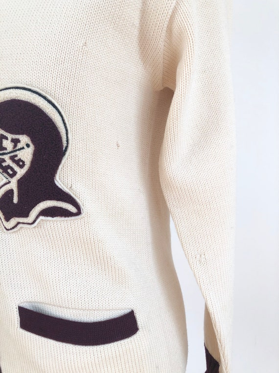 1950s Knight Spartan Patch Varsity Cardigan Sweat… - image 4