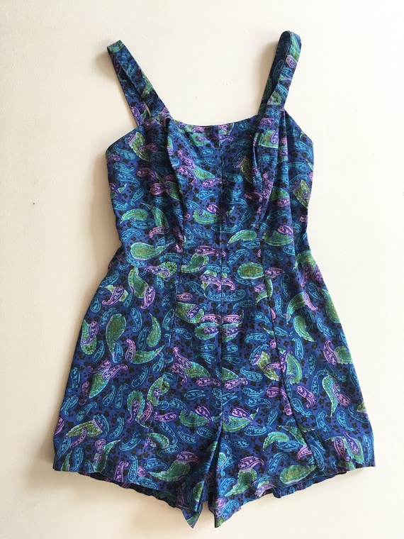 FABULOUS 1950s Rose Marie Reid Paisley One Piece