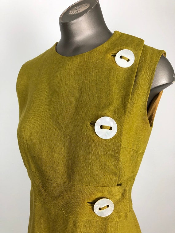 1960s Anne Fogarty Mustard Linen Button Shift Dres