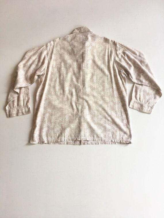 1940s Abstract Print Linen Men's Shirt XL - image 7