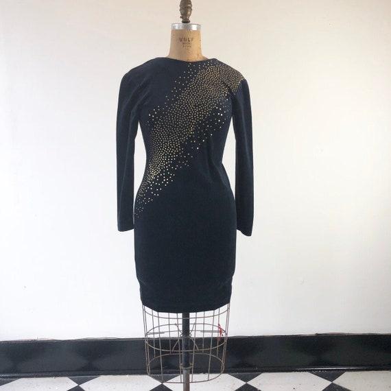 Super Hot 80's Black Velvet Body Con Mini Dress M