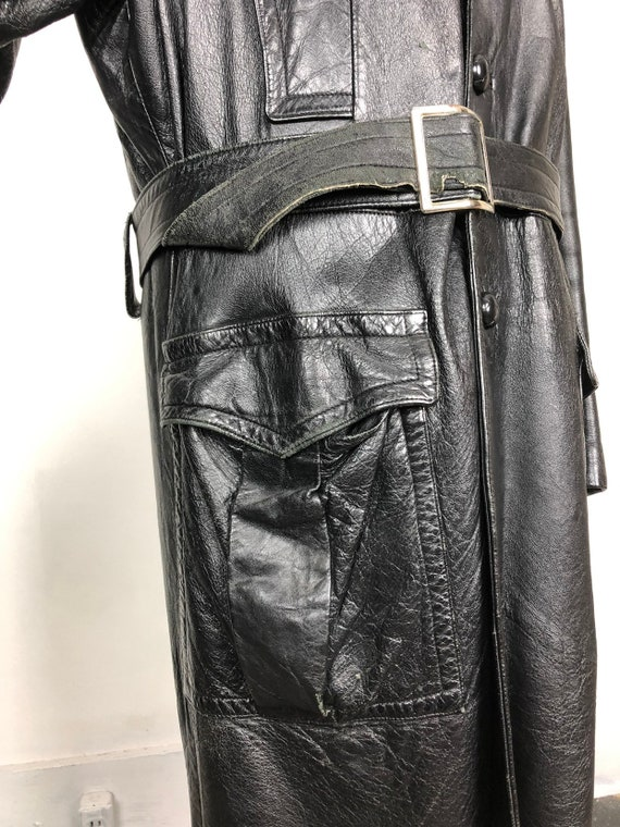 70s Black Leather Belted Trench Coat XL - image 4