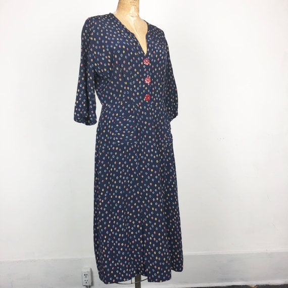1940's Navy Novelty Print Cold Rayon Dress M
