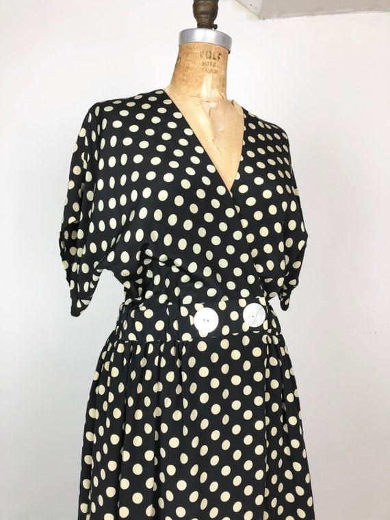 1980s Does 1940s Navy Silk Polka Dot Wrap Dress M - image 2