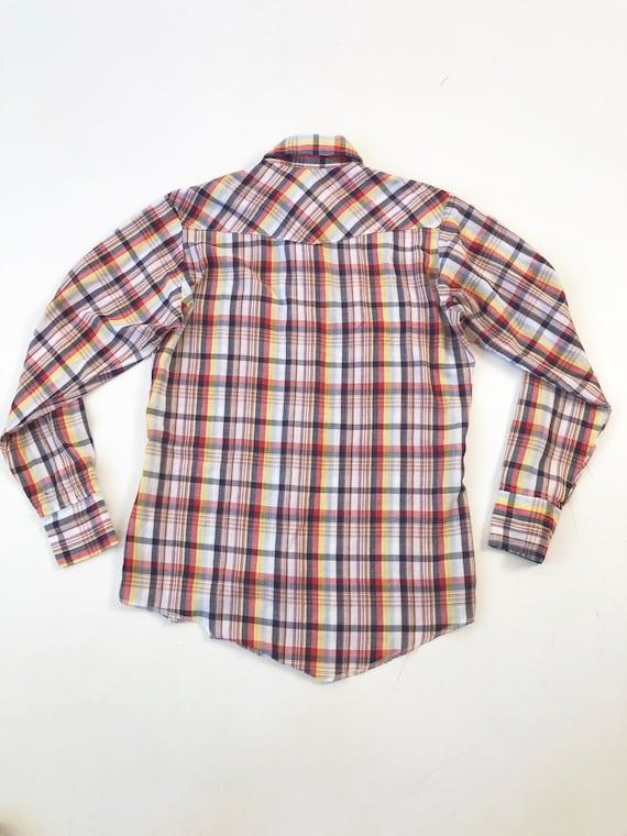 1970's Wrangler Plaid Western Shirt S - image 5
