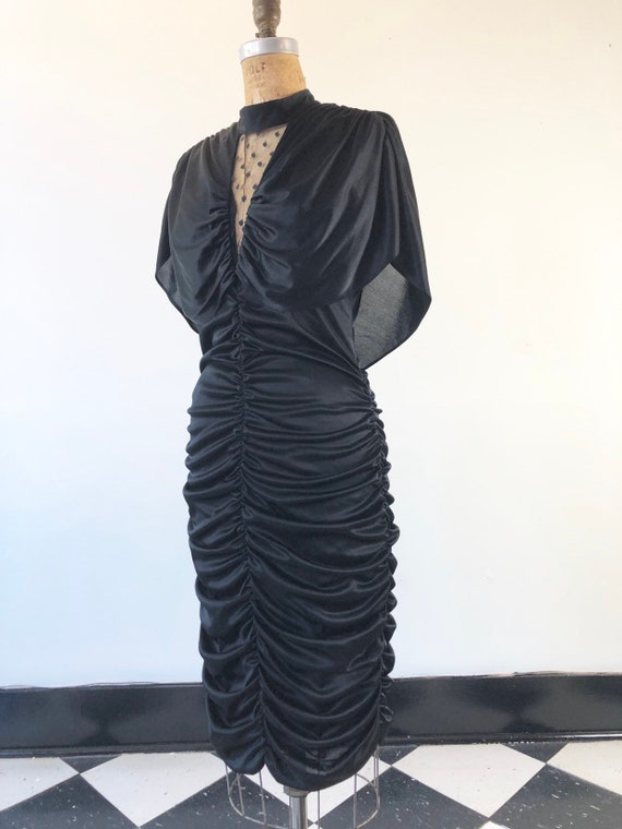 DEADLY 1970's Ruched Black Body Con Dress M