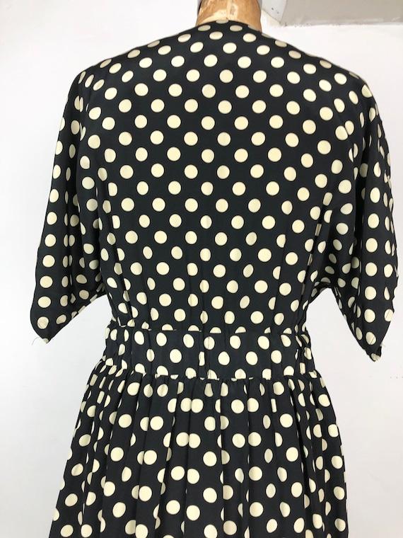 1980s Does 1940s Navy Silk Polka Dot Wrap Dress M - image 8