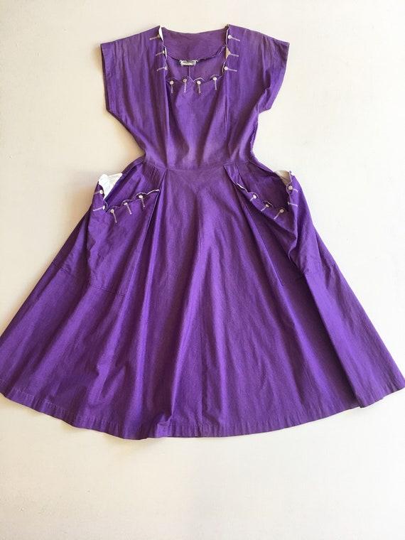 Adorable 1950s Purple Cotton Day Dress S