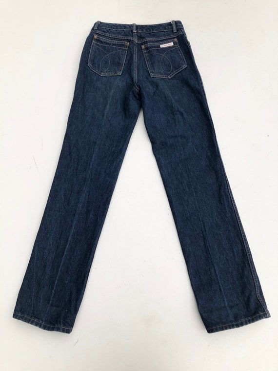 1980s Calvin Klein High Waisted Dark Blue Denim J… - image 4