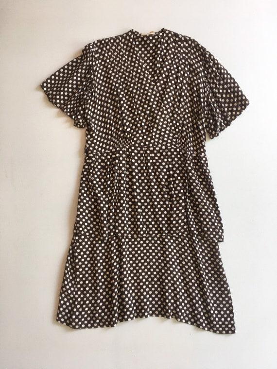 KILLER 1940s Brown Polka Dot Cold Rayon Dress M L