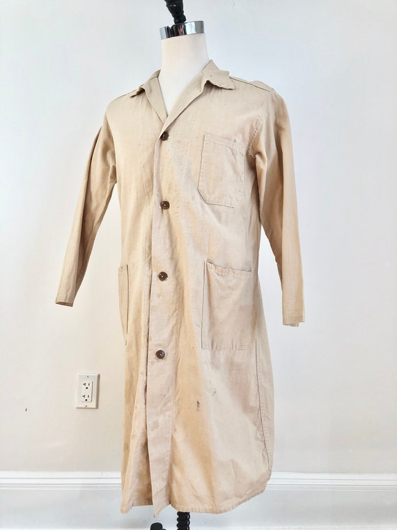 1930s Ivory Cotton Duster Jacket M