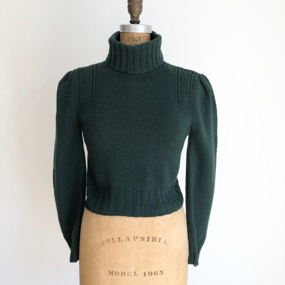 1980s Berek Green Cropped Wool Turtleneck Sweater