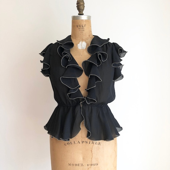 HOT 1970's Black Rayon Crepe Ruffle Blouse M