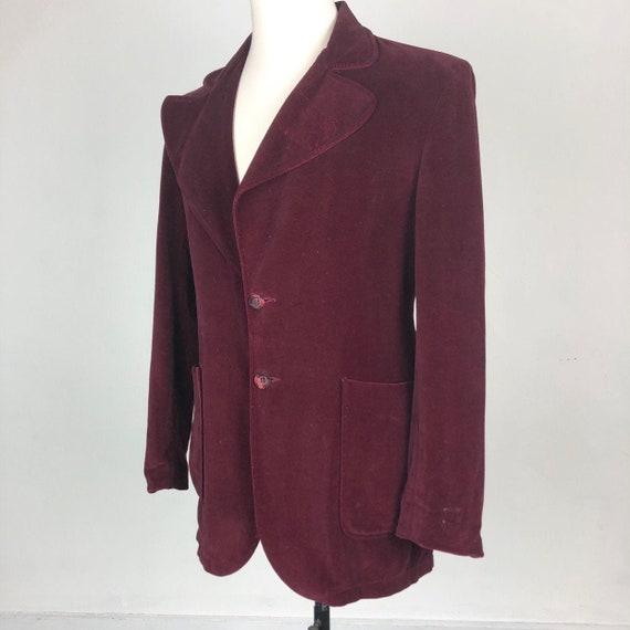 HOT 1970s Burgundy Velvet Glam Rock Jacket M