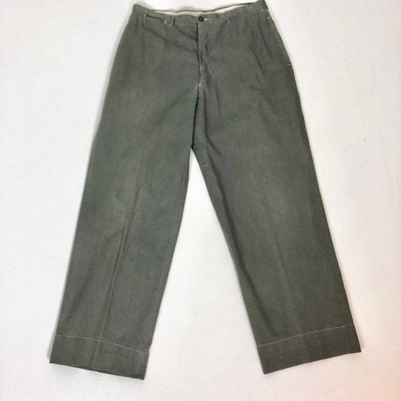 1940s Grey Button Fly Sanforized Cotton Trousers 3