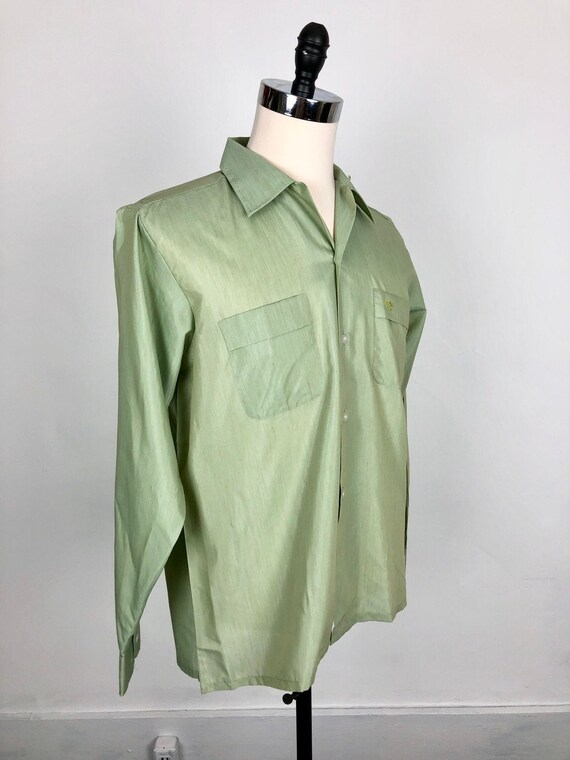 NOS 1950s Aristocrat Green Cotton Loop Collar Shir
