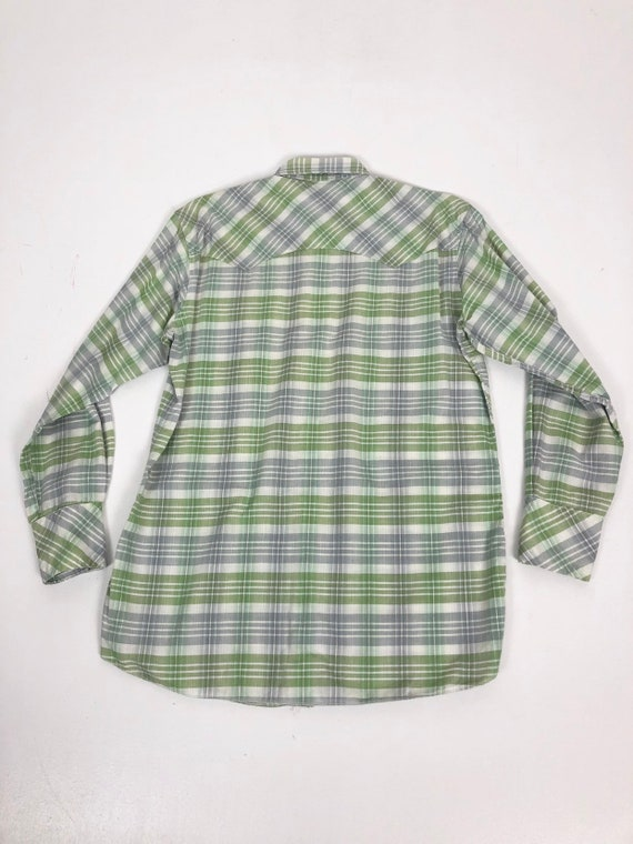 50's Ranchcraft Green Plaid Western Shirt S - image 7