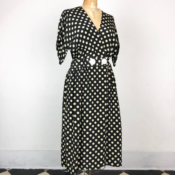 1980s Does 1940s Navy Silk Polka Dot Wrap Dress M