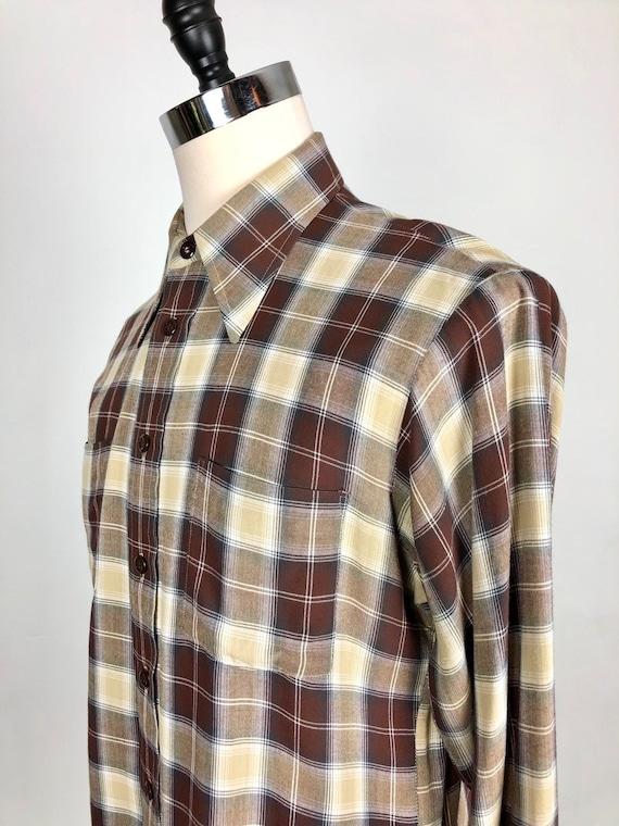 1950s Van Heusen Brown Plaid Rayon Shirt L