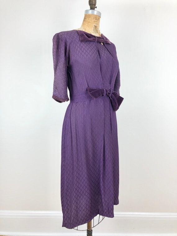 Sweet 1930's Purple Rayon Velvet Bow Dress S