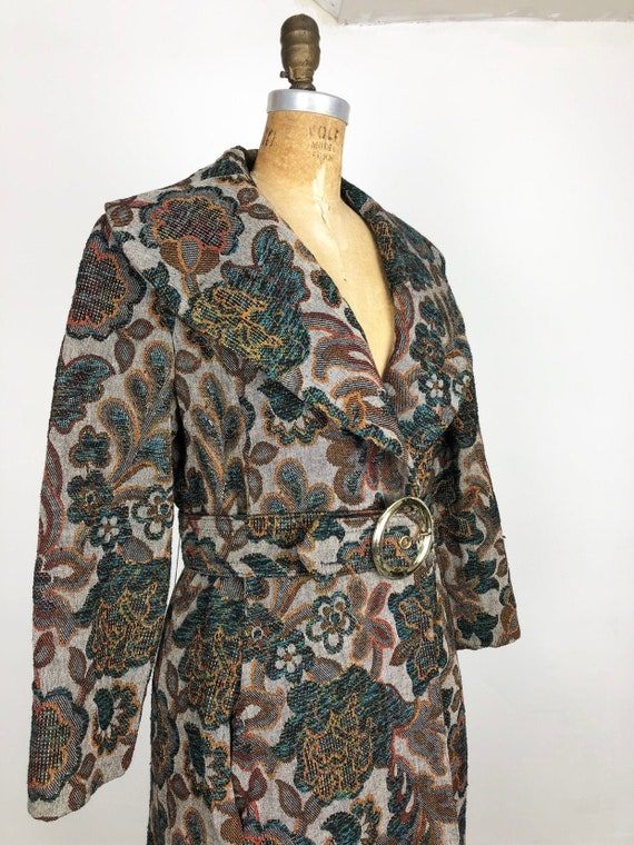 Fabulous 1960s Belted Tapestry Coat S