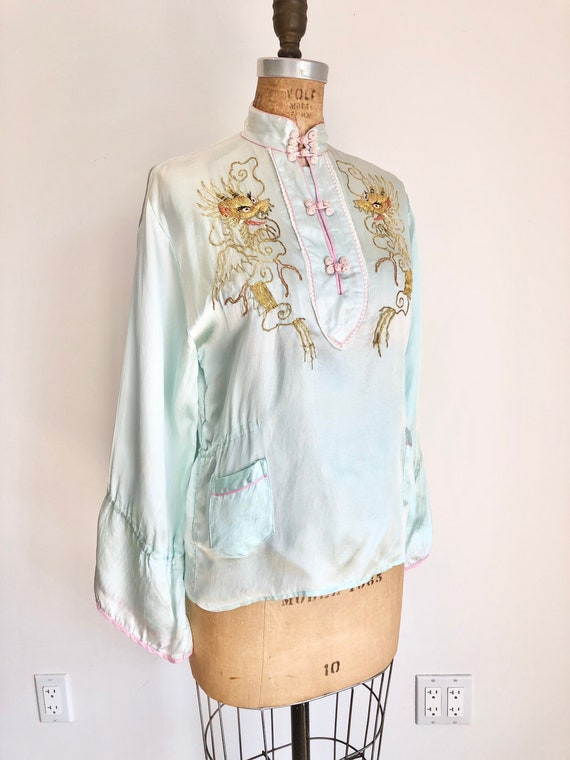 1940s Gold Dragon Icy Blue Rayon Pajama Top  S M