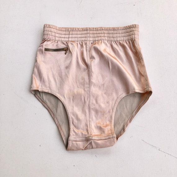 1940's Blush Pink Satin Swim Briefs S