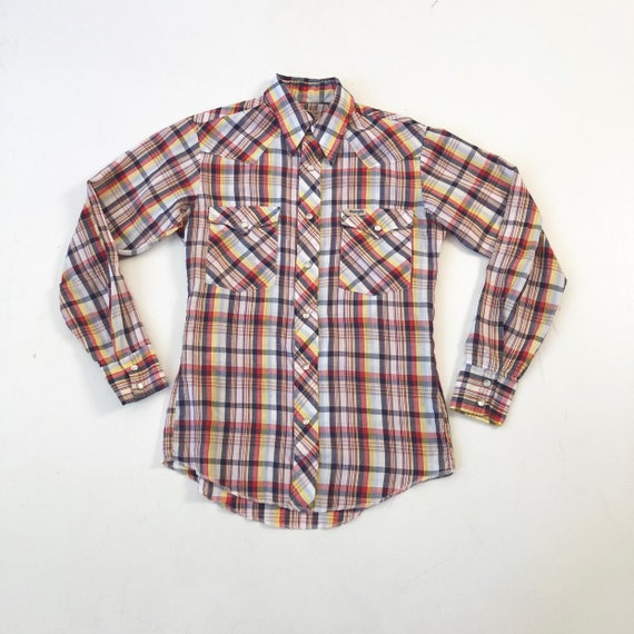 1970's Wrangler Plaid Western Shirt S