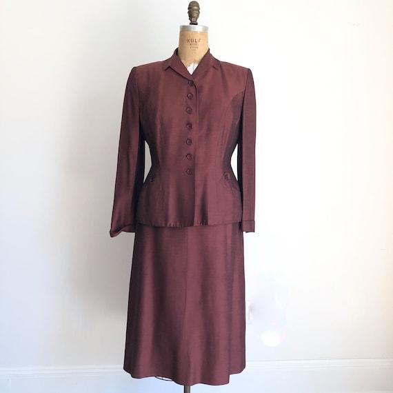 KILLER 1940s Wine Red Sharkskin Skirt Suit M