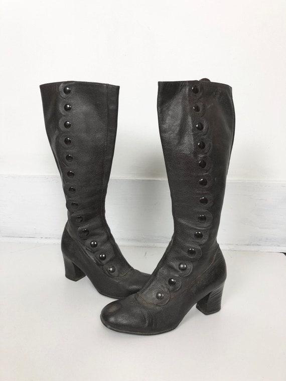 KILLER 1960s Italian Brown Leather Go-Go Boots W/