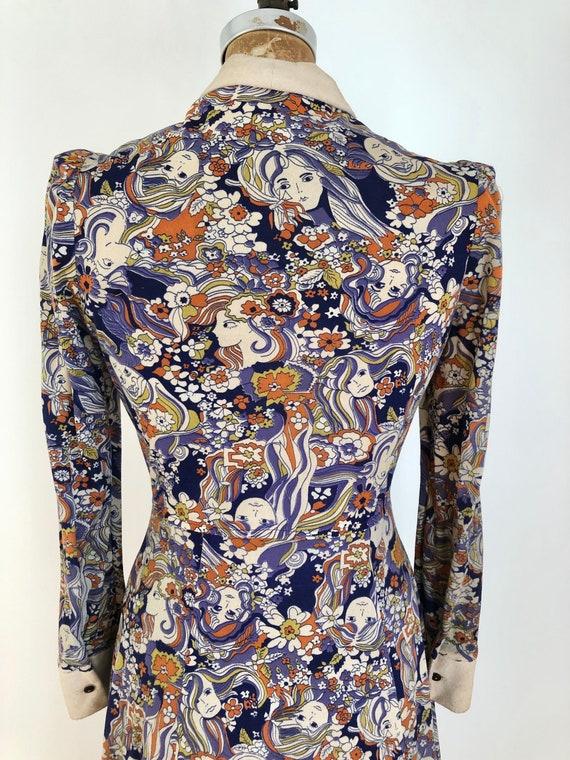 1960's Psychedelic Novelty Girl Print Dress S - image 8