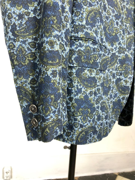 1960s Paisley Print Cotton Dinner Jacket S - image 5