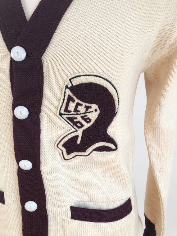 1950s Knight Spartan Patch Varsity Cardigan Sweat… - image 3