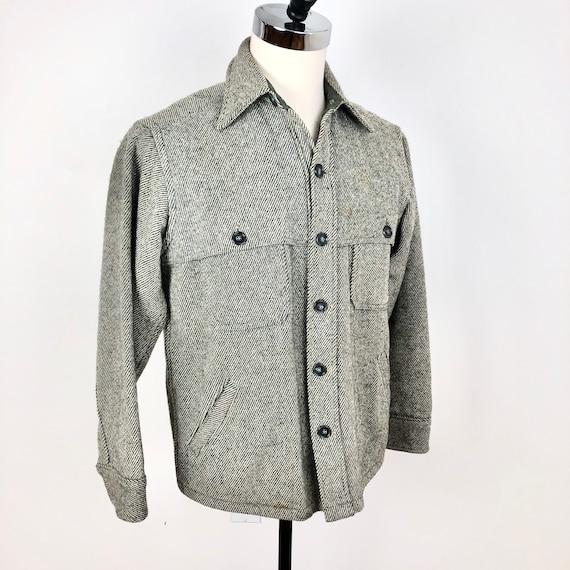 1970s Woolrich Grey Twill Wool Shirt Mackinaw Jack