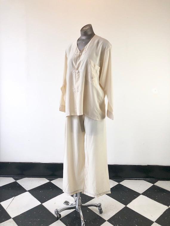 1930's Ivory Silk Dragon Embroidered Pajamas M