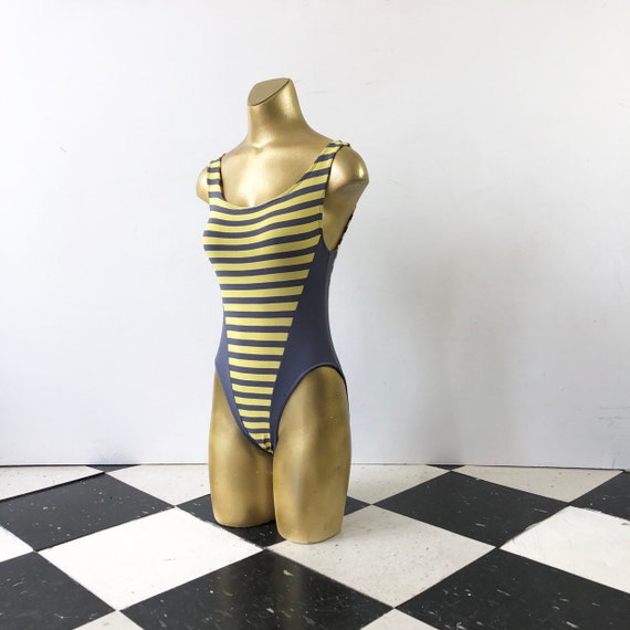 HOT 1980s Yellow and Grey Striped Leotard Swimsuit