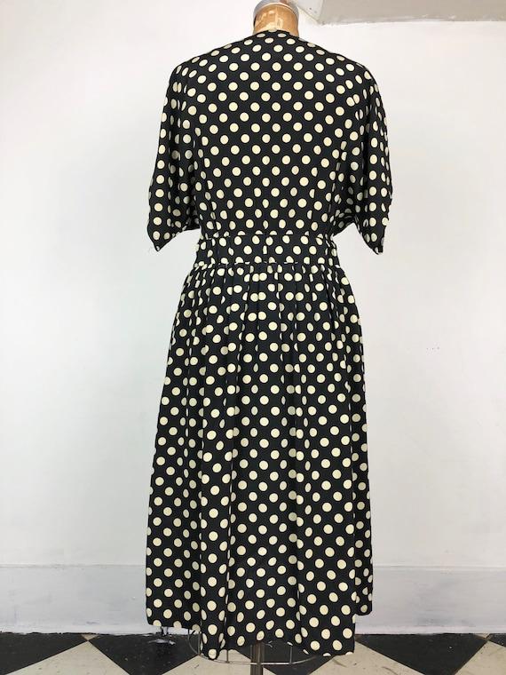 1980s Does 1940s Navy Silk Polka Dot Wrap Dress M - image 7