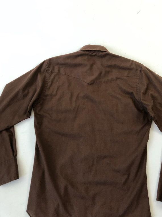 1970's Wrangler Brown Western Snap Shirt S - image 7