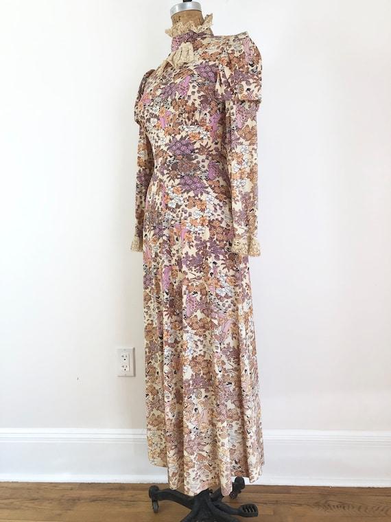 1970s Geisha Print Victorian Style Maxi Dress S
