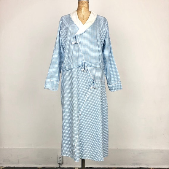 20s Blue Checkerboard Print Cotton Dress M