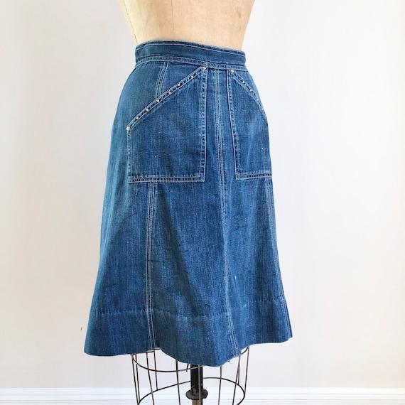 """Killer 1940s Studded Denim Skirt 27"""""""