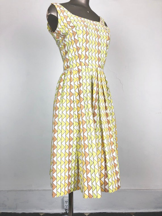 BOMBSHELL 1950's Geometric Print Sun Dress XS
