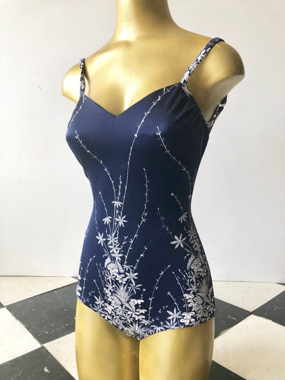 CUTE 1960's Roxanne Navy Blue Floral One Piece Swi