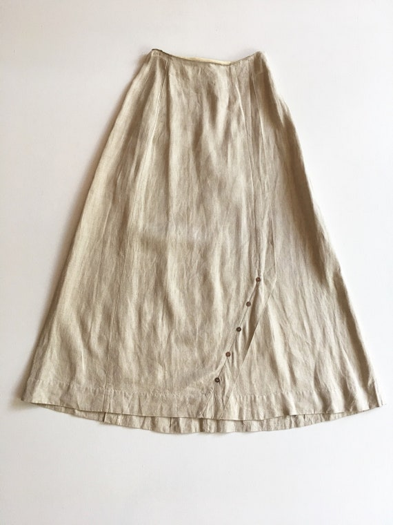 Fabulous Antique Linen Button Maxi Walking Skirt X