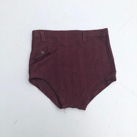 1940s Burgundy Rayon Knit Swim Briefs S