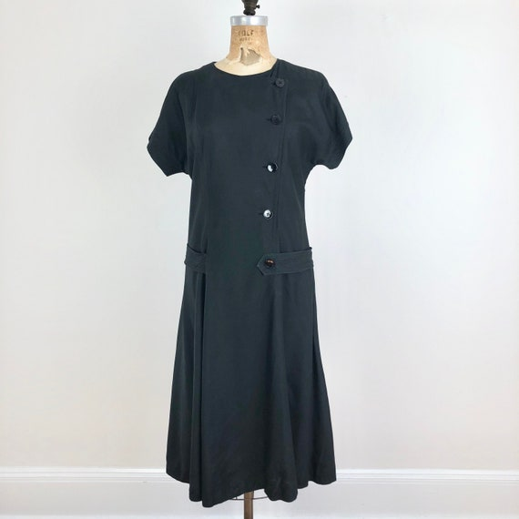 1980s Albert Nipon Black Silk Drop Waist Dress S - image 1
